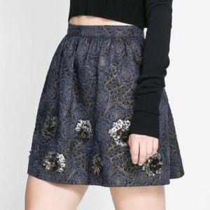Zara basic jacquard blue jeweled short skirt Small